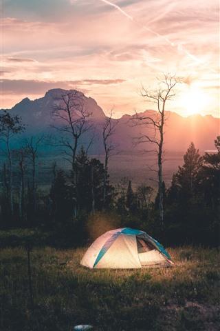 iPhone Wallpaper Morning, tent, trees, river, fog, sunrise
