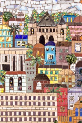 iPhone Wallpaper Mosaic painting, wall, city, Jerusalem