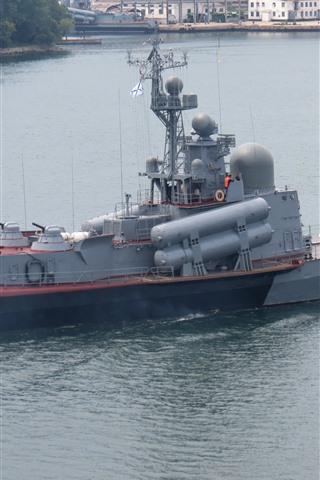 iPhone Wallpaper Navy, ship, weapon, battleship, river