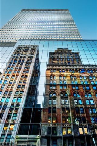 iPhone Wallpaper New York, USA, city, skyscrapers, glass wall, mirror