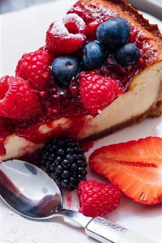 iPhone Wallpaper One slice of cake, berries, fruit