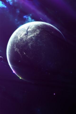 iPhone Papéis de Parede Planetas, espaço, estilo roxo
