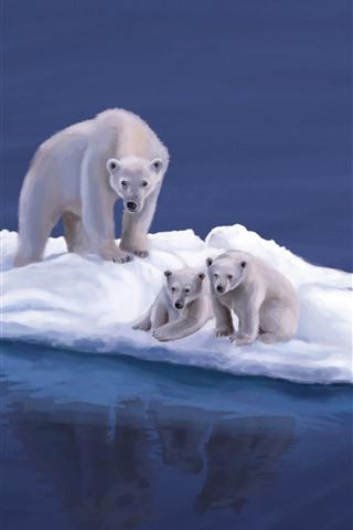 iPhone Wallpaper Polar bears, snow island, art picture