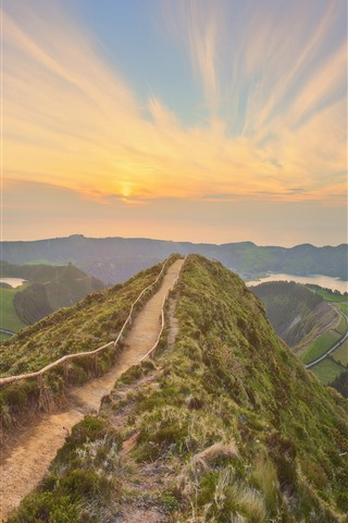 iPhone Wallpaper Portugal, Azores, trail, fence, mountains, sunset