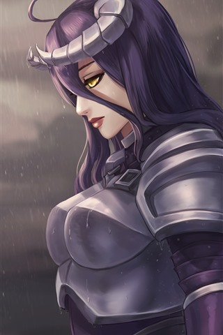 iPhone Wallpaper Purple hair fantasy girl, armor, rain