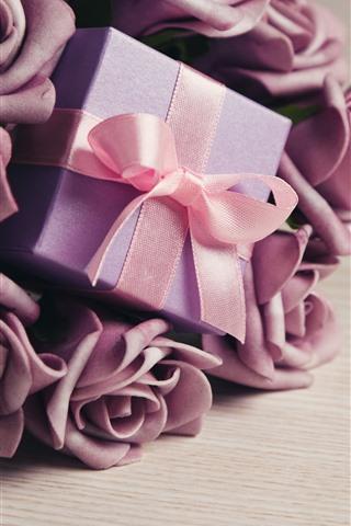 iPhone Wallpaper Purple rose flowers, gift, ribbon