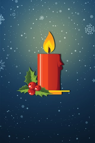 iPhone Wallpaper Red candle, flame, snowflakes, vector picture