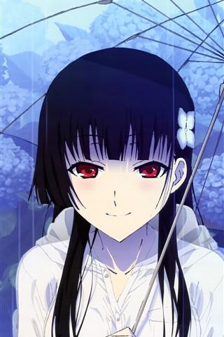 iPhone Papéis de Parede Menina vermelha do anime dos olhos, guarda-chuva, chuva, flores