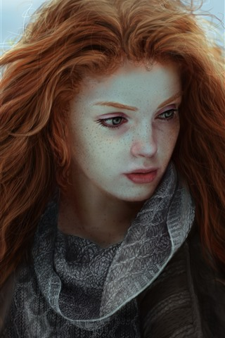 iPhone Wallpaper Red hair fantasy girl, freckles
