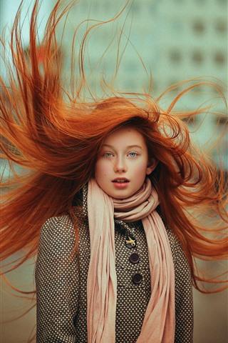 iPhone Wallpaper Red hair girl, blue eyes, hair flying
