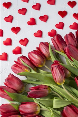 iPhone Wallpaper Red tulips, love hearts, romantic