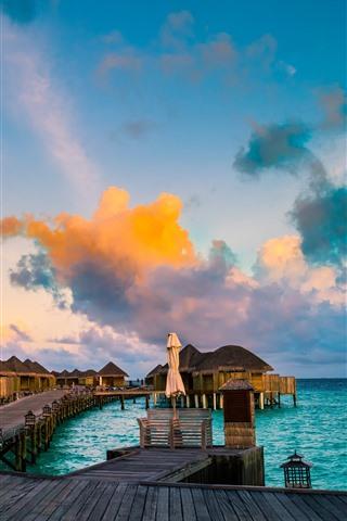 iPhone Wallpaper Resort, bungalows, sea, tropical