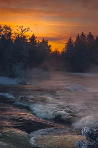 iPhone Wallpaper River, trees, snow, sunset, winter