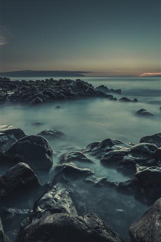 iPhone Wallpaper Rocks, fog, sea, dusk