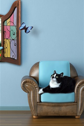 iPhone Wallpaper Room, cat, chair, window, butterfly, creative picture