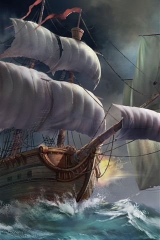 iPhone Wallpaper Sailboats, sea, waves, battle, art picture