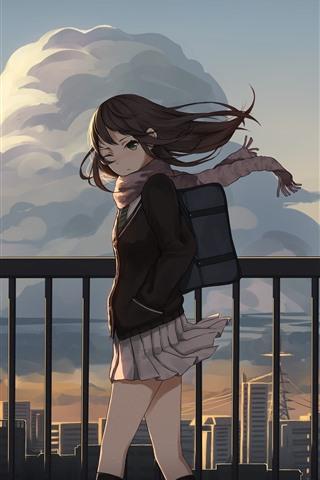 iPhone Papéis de Parede Colegial, vento, vedação, anime