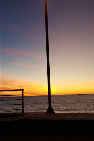 iPhone Wallpaper Sea, shore, sunset, lamp
