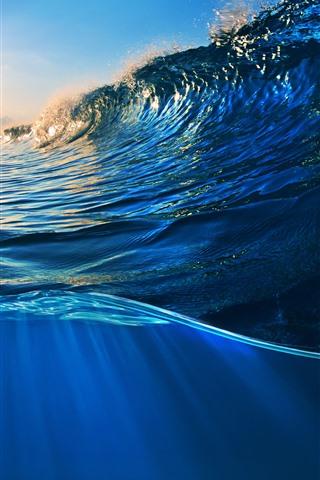 iPhone Wallpaper Sea, water, waves, splash, sky, clouds, sunshine