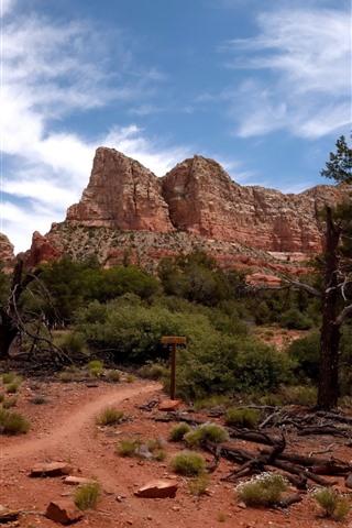 iPhone Papéis de Parede Sedona, árvores, montanha, céu