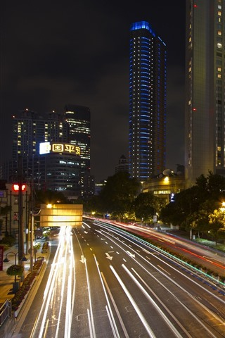 iPhone Wallpaper Shanghai, skyscrapers, street, roads, lights, night, China