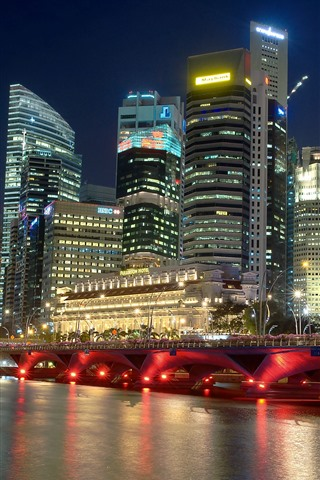 iPhone Wallpaper Singapore, city at night, river, skyscrapers, bridge, lights