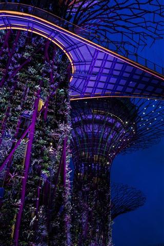 iPhone Wallpaper Singapore, night, garden, lights