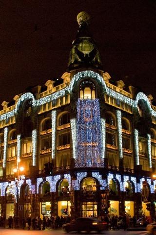 iPhone Wallpaper Singer House, St. Petersburg, illumination, city night, Russia