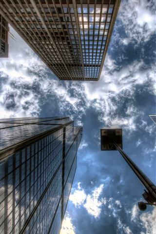 iPhone Wallpaper Skyscrapers, city, from bottom view, sky, clouds