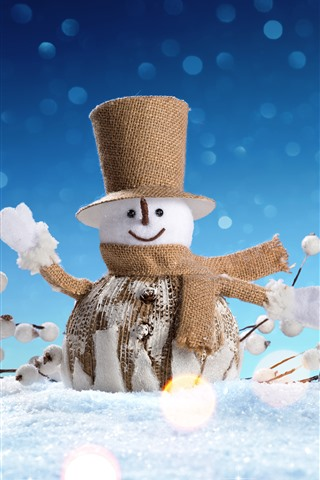 iPhone Wallpaper Snowman toy, snow, Christmas decoration
