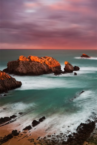 iPhone Wallpaper Spain, coast, sea, rocks, sunset