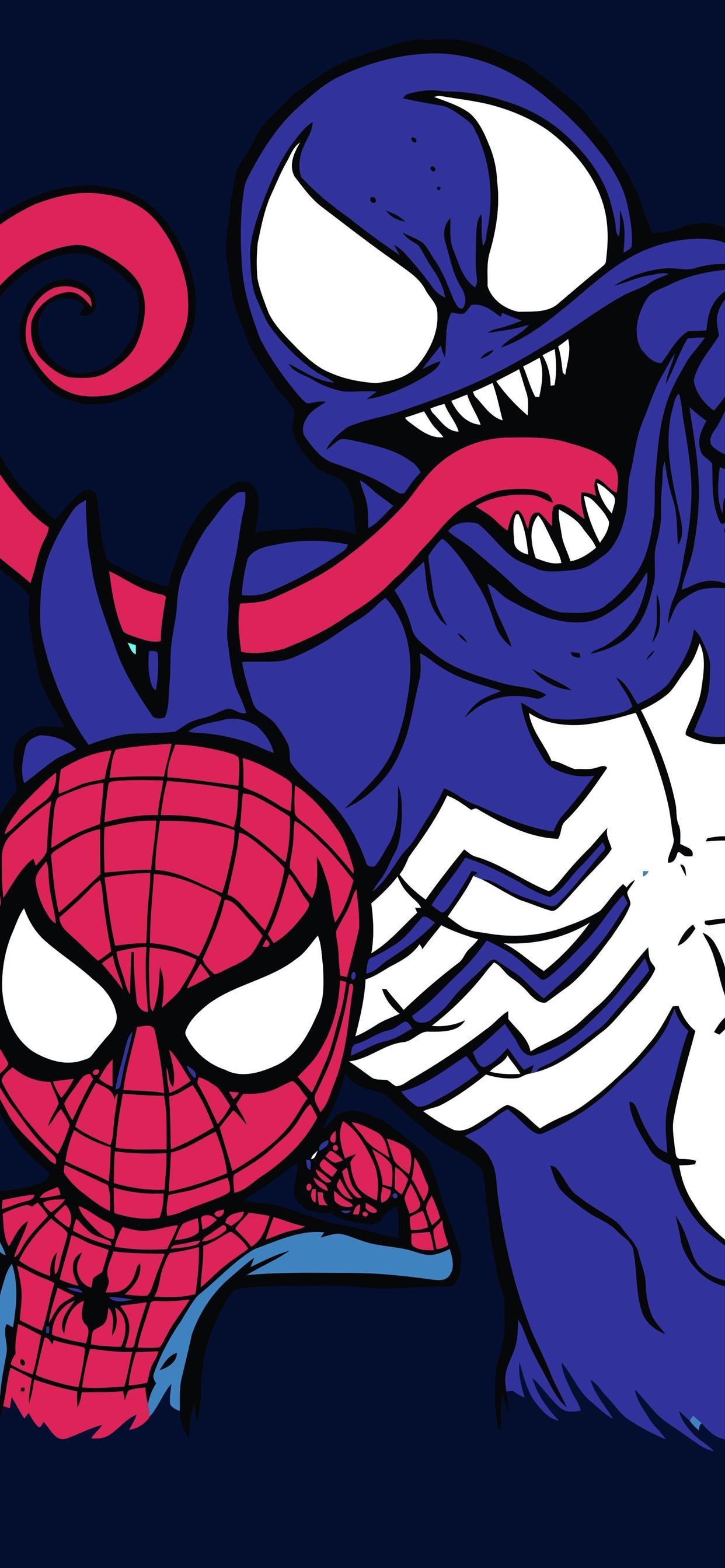 Spider Man And Venom Dc Comics 1242x2688 Iphone Xs Max Wallpaper