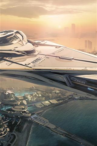 iPhone Wallpaper Star Citizen, future city, spaceship