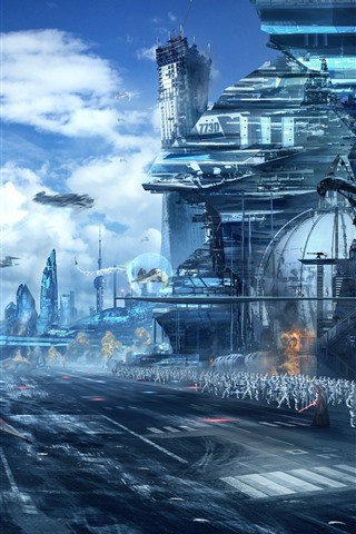 iPhone Wallpaper Star Wars, art picture, skyscrapers, soldiers