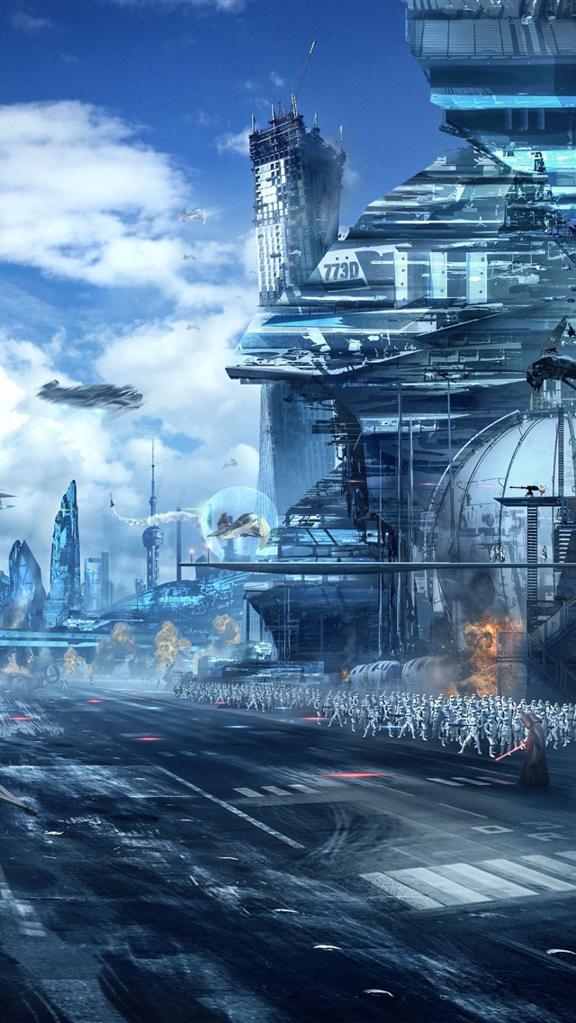 Star Wars Art Picture Skyscrapers Soldiers 1242x2688 Iphone 11 Pro Xs Max Wallpaper Background Picture Image