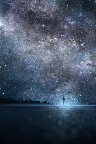 iPhone Wallpaper Starry, night, sky, people
