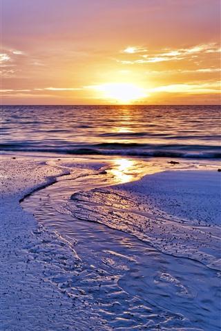 iPhone Wallpaper Sunset, beach, water, sky, sea