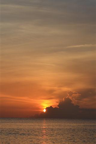 iPhone Wallpaper Sunset, clouds, sky, sea, dusk, nature landscape