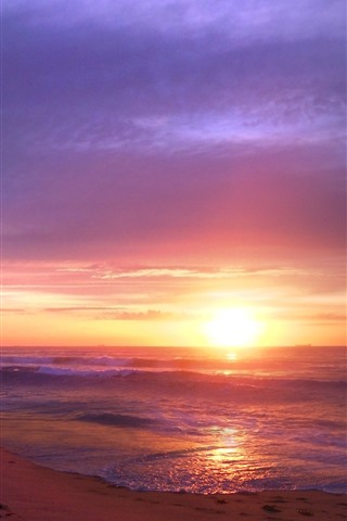 iPhone Wallpaper Sunset, sea, waves, beach, nature landscape