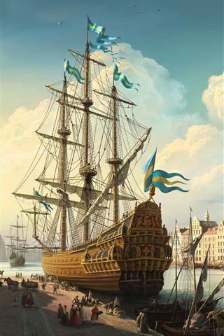 iPhone Wallpaper Sweden, Stockholm, ship, city, river, art painting