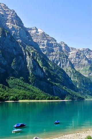 iPhone Wallpaper Switzerland, lake, mountains, people