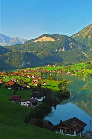 iPhone Papéis de Parede Switzerland, montanhas, lago, vila