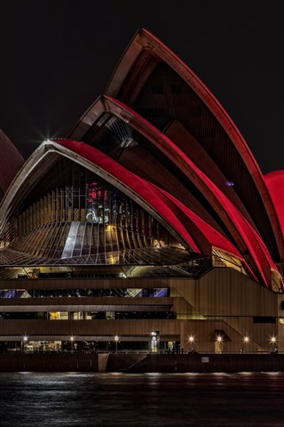 iPhone Wallpaper Sydney Opera House, Australia, night, lights, sea