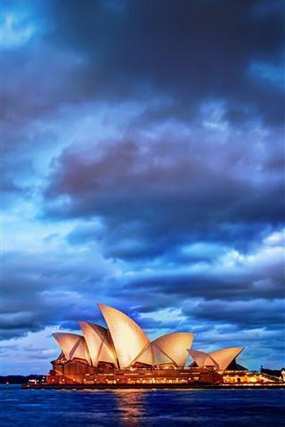 iPhone Wallpaper Sydney, city, night, bay, clouds, Australia