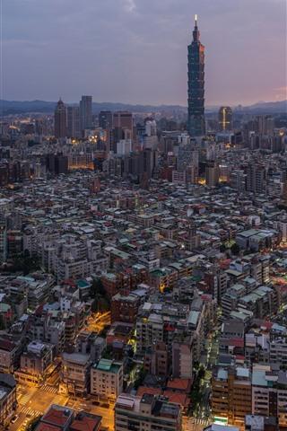 iPhone Wallpaper Taiwan, city, skyscrapers, dusk, lights, Taipei 101