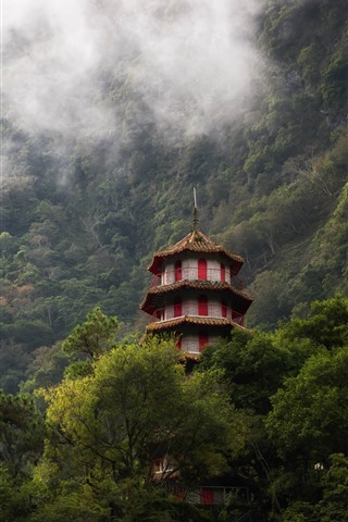 iPhone Wallpaper Taroko Gorge, Taiwan, tower, trees, fog
