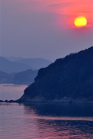 iPhone Wallpaper Tatsuno, Japan, river, mountains, sunset
