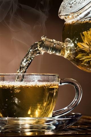 iPhone Wallpaper Tea, glass cup, kettle, steam