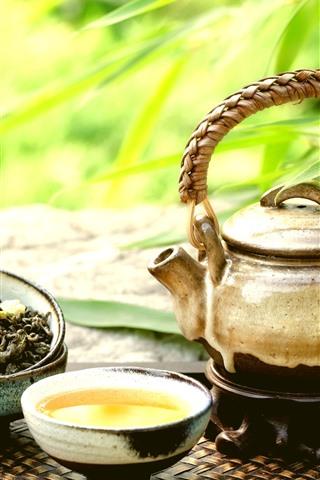 iPhone Wallpaper Teapot, tea, cup, green bamboo leaves