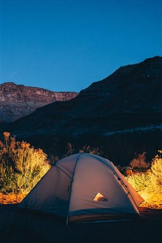 iPhone Wallpaper Tent, lights, mountains